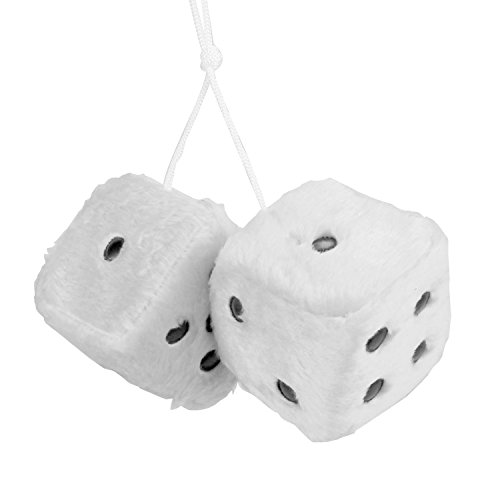 Mrcartool Car Fuzzy Dice,3 inch Pair Retro Square Mirror Hanging Dice, Couple Fuzzy Plush Dice Dots Car Interior Ornament Decoration - White Dice Fuzzy