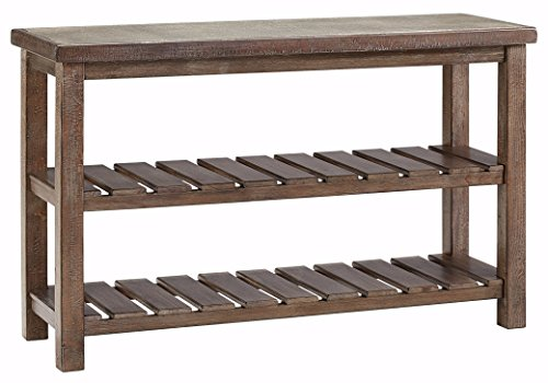Ashley Furniture Signature Design - Vennilux Sofa/Console Table - 2 Shelves - Vintage Casual - Grayish (Farmhouse Console)