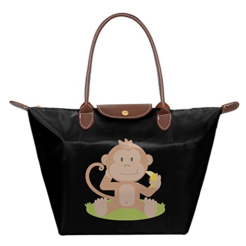 Coffee Pot Costume (Oery Monkey Love Banana Small Nylon Mini Travel Tote Shoulder Tote Black)