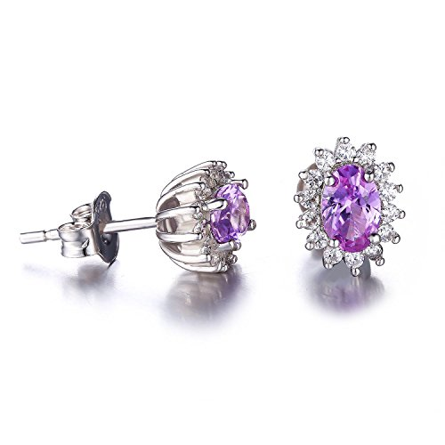 Jewelrypalace Diana Style Oval Womens Created Alexandrite Sapphire 925 Sterling Silver Earrings Stud