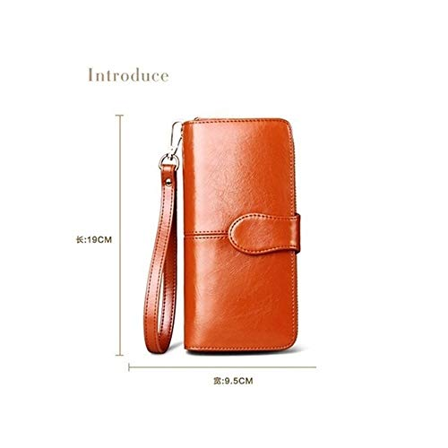 Zipper Oil Bag Leather Light Female Wax Wallet Bag Purse Elegant Hand Multifunctional Women Pink Long anxIqwaTr