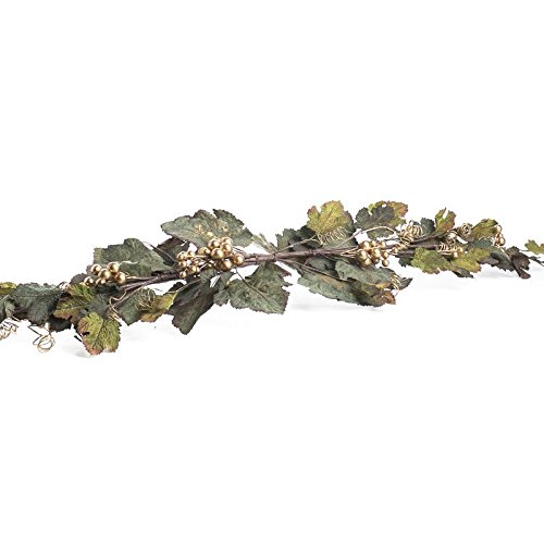 Factory Direct Craft Pair of Tuscan Artificial Grape Swag with Gold Grapes and Tendrils Throughout for Home Decor, and Displaying ()