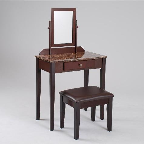 Iris Vanity & Stool Table by Crown Mark