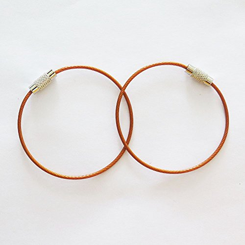 10pcs 150mm Stainless Steel Wire Keychain Key Ring Cable Loop Key Chain (Orange) ()