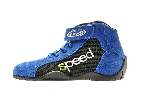 Stivaletti per adulti per kart, corse, rally, corse su pista, rivestimento in ecopelle scamosciata e pannello a rete, bianca blu