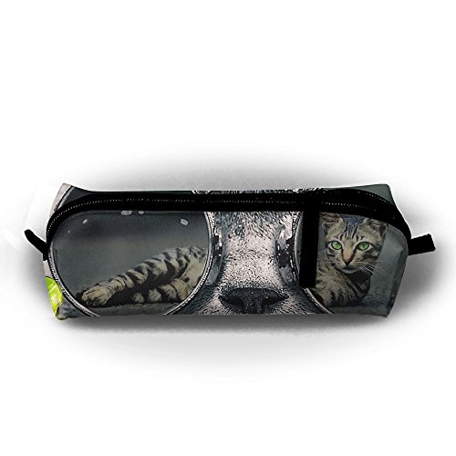 Cool Smoking Sunglasses Cat Canvas Pencil Bag Holder Pen Case Stationery Makeup Cosmetic Pouch Bag With - Sunglasses Smoking