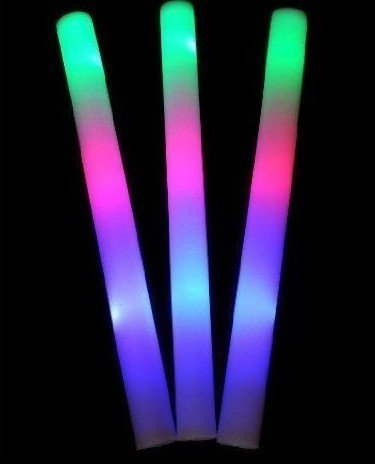 YMCtoys 120 pack of 18 Multi Color Foam Baton LED Light Sticks - Multicolor Color Changing 3 model flashing