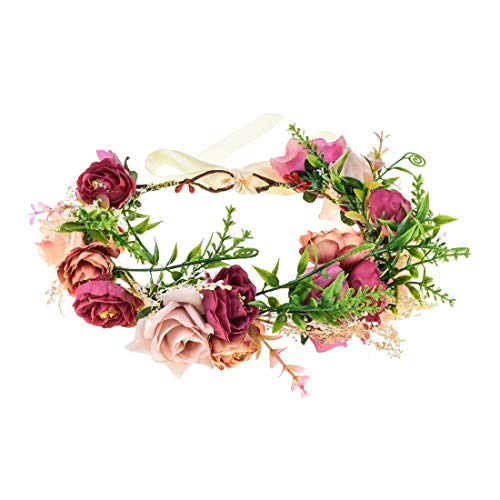 Vividsun Flower Crown Floral Headpiece Festival Wedding Hair Wreath Floral Crown (G-Light purple)