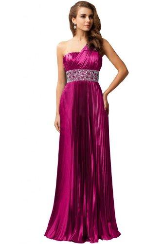 sera fucsia strass con spalla Line una da lungo abito sera rosa A raso Sunvary ORqxPF8wF