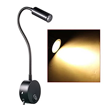 Wall Fixed Reading Lights : WannaBi Flexible Plug Wired 3 Watts 3W Gooseneck Led Wall Light Sconce Lamp Lighting for Bedroom ...