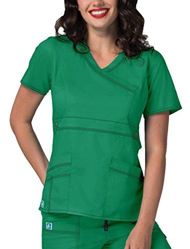 Chartreuse Body - Adar Pop-Stretch Women's Junior Fit Taskwear Tab-Waist Crossover Scrub Top - 3200 - Chartreuse - L