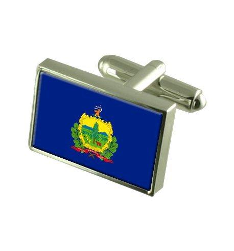 Vermont Boutons de manchette drapeau avec select pochette cadeaux