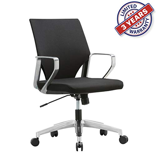(Ergonomic Mid-Back Upholstered Swivel Task Chair with Aluminum Alloy Chrome Arm Rest and Base for Home and Office)