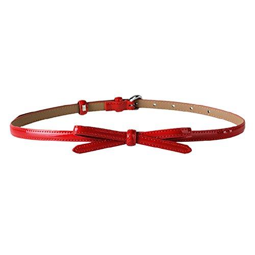 SUNNOW® Damen Gurt Bauchband geschmackvoll dünne Lackleder Schleife Accessoires Gürtel süß (Rot)
