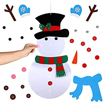 AerWo DIY Felt Christmas Snowman Games Set with 31pcs Detachable Ornaments Xmas Gifts for Christmas Door Wall Hanging Decorations, 39 x 20 Inch