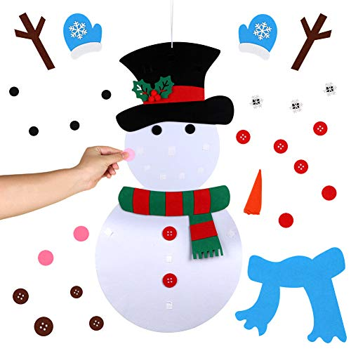 AerWo 19x39 Inches Christmas DIY Felt Snowman Set with 29pcs Detachable Ornaments, Xmas Wall Hanging Games for Christmas Decorations