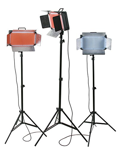 ePhotoInc Dimmable 500 LED X 3 Video Light Panel Photography Studio Photo Lighting Kit with Stands VL500SDx3 by ePhoto