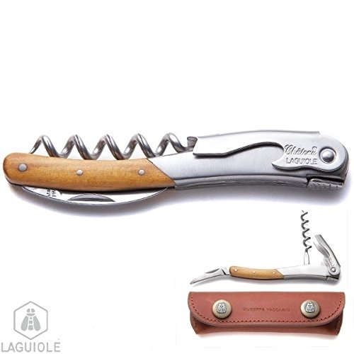 LAGUIOLE corkscrew, signed by sommelier Giuseppe Vacarrini, Italy - World Champion in 1978. authentic genuine Chateau Laguiole. Hand made in France. Delivered with personalized leather case by LAGUIOLE