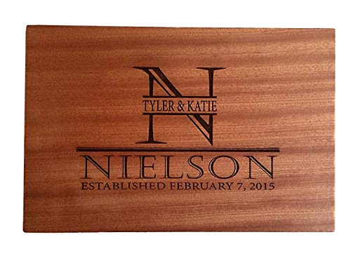 - Personalized Gifts Couples Cutting Board - Wood Cutting Boards Bridal Shower, Housewarming, and Wedding Gifts (10 x 15 Mahogany Rectangular, Nielson Design)