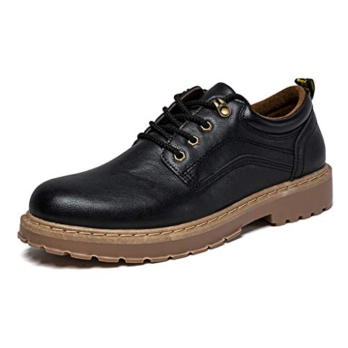 (Men's Oxford Leather Shoes,Mosunx Athletic Teen Boys Breathable Low-Top Lace Up Dress Shoes British Style Big Head Casual Business Shoes (8.5, Black))