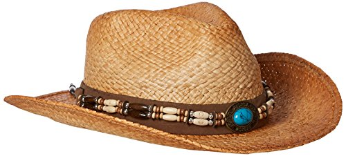 Henschel Men's Burnished Raffia Straw Hat with Faux Turquoise Concho & Beaded Band, Raffia, X-Large (Beaded Raffia)