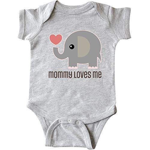 inktastic Mommy Loves Me Elephant Infant Creeper Newborn Heather Grey