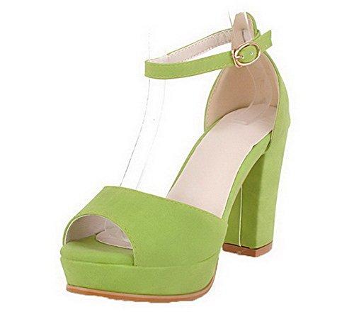 VogueZone009 Women High-Heels Solid Buckle PU Peep Toe Sandals Green