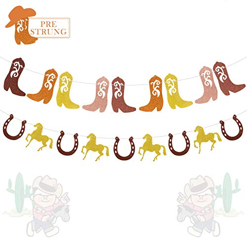 Western Cowgirl Cowboy Banner Boots Horses Horseshoes Garland for Girls Kids First Birthday Baby Bridal Shower Party Glitter Decorations-PRESTRUNG]()