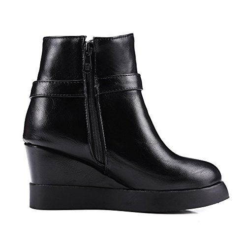AgooLar Low Black Boots Pointed Women's Top Toe Closed Heels PU High Zipper rUO7gwqfrx