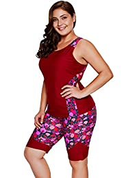 Women's Plus Size Rash Guard Capris Tankini Athletic...