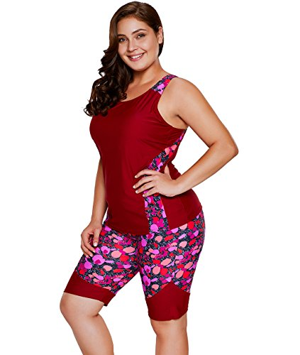 Lalagen Women's Plus Size Rash Guard Capris Tankini Athletic Swimwear Wine XXL
