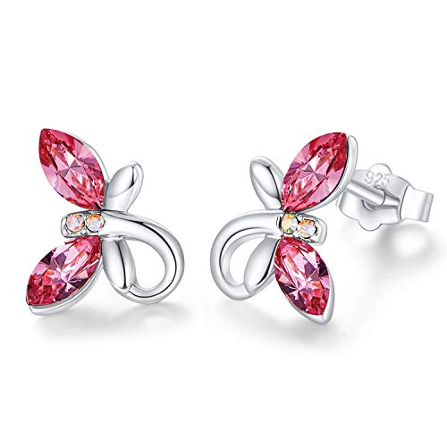 CDE Ear Jewelry for Women Girls Hypoallergenic White Gold Birthstone Butterfly Stud...