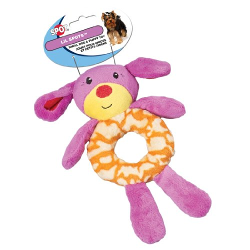 Ethical Pet Lil Spots Plush Ring Toys for Small Dogs and Puppies, 7.5-Inch, Assorted