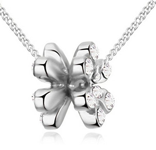 Lovely Land Australia Imported Crystal Double Flower Pendant Necklace (White)