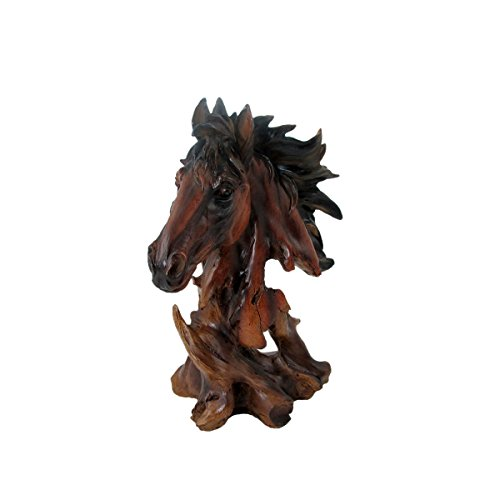 Animal Wildlife Collection Faux Wood Horse Head Bust -
