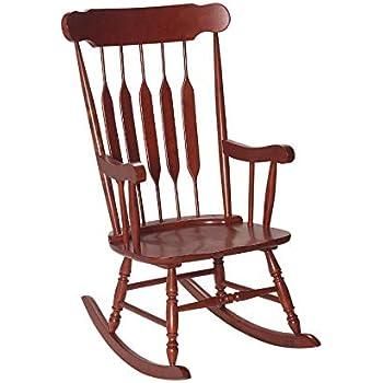 Remarkable Amazon Com Slat Back Rocking Chair White Kitchen Dining Short Links Chair Design For Home Short Linksinfo