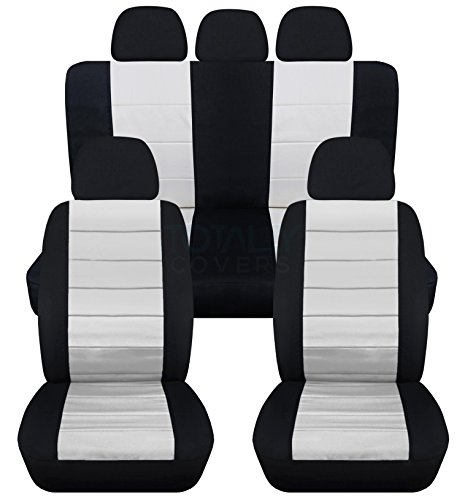 2-Tone Car Seat Covers w 5 (2 Front + 3 Rear) Headrest Covers: Black and White - Universal Fit - Full Set - Buckets & Bench - Option for Airbag/Seat ()