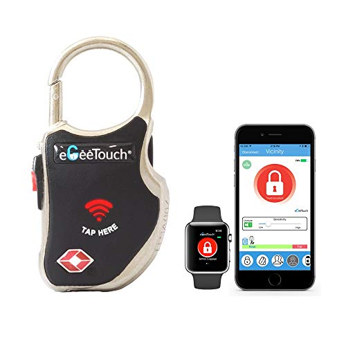 eGeeTouch Smart Travel Padlock w/Patented Dual Access Technologies (NFC + BT), Vicinity Tracking, etc. (Black)