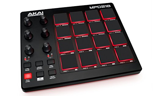 Akai Professional MPD218 | MIDI Drum Pad Controller with Software Download Package (16 pads / 6 knobs / 6 buttons) Usb Dj Controller Packages