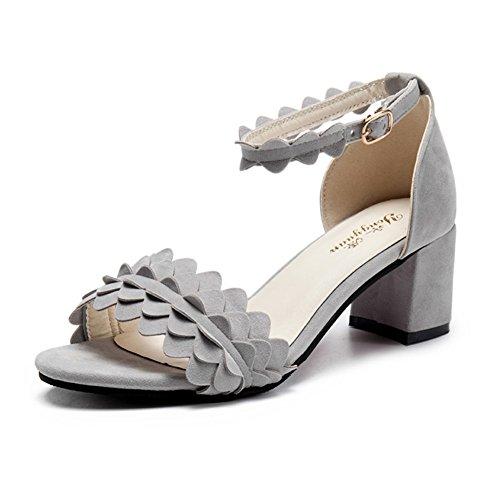 Moda Con Tacones Gruesos Tacones De Tiras,Estudiante Una Sandalias gris