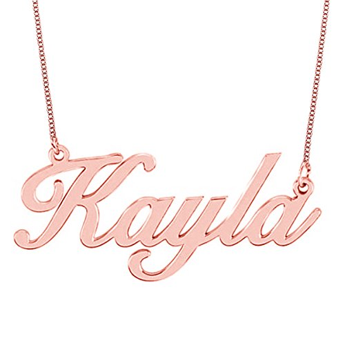Personalized 18K Rose Gold Plated Sterling Silver Name Necklace