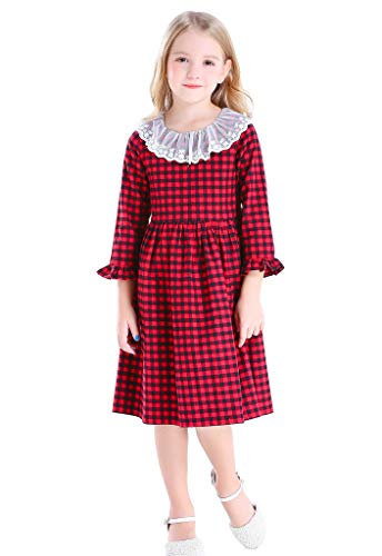 Bow Dream Little Girl Rustic Vintage Dress Plaid Dress Red 4 -