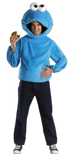 Cookie Monster And Cookie Costume (Cookie Monster Adult Costume Size X-Large (42-46) Blue)