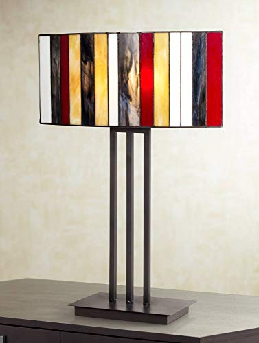 - Modern Table Lamp Bronze Iron Striped Stained Glass Shade for Living Family Room Bedroom Bedside Nightstand - Robert Louis Tiffany