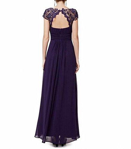 Brustumfang Abendkleid offener Violett der Leader Schönheit Gerüscht Damen Violett Rücken ZUxFqYw