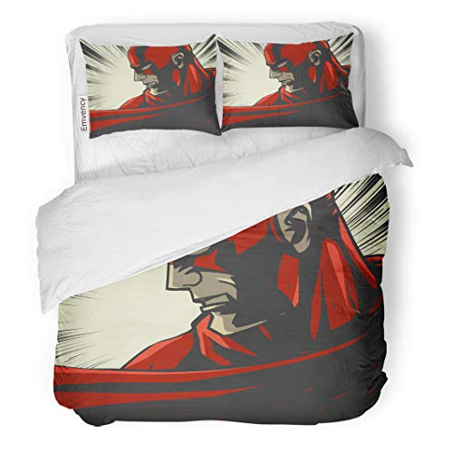 Semtomn Decor Duvet Cover Set King Size Hero Red Comic Book Pop Super Face Retro Mask 3 Piece Brushed Microfiber Fabric Print Bedding Set Cover