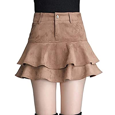 Wincolor Women's Faux Suede High Waisted Two Layered Ruffled Mini A-line Flared Skater Skirt
