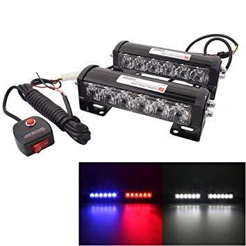 Uniqus 2 PCS 6 inch 6 LED 2 x 18W Car Flash Warning Light Red + bluee Change White Waterproof Emergency Light, DC 12V