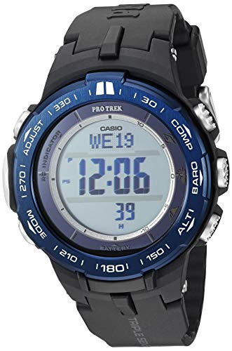 Casio Men's ' Pro Trek Quartz Stainless Steel and Resin Watch, Color:Black (Model: ()
