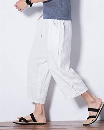 Lino Hx Pantaloni Taglie Tasche Da Con Comode Abiti Comodi Di Casual Ampi Fashion Larghi Coulisse Uomo Bianca ffqwrYR